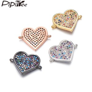 Pipitree Full Micro Paved Cubic Zirconia Heart Charms Women Bracelet Connector DIY Charm for Jewelry Making Finding Accessories