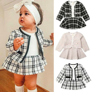 Luxurys Princess Suits Cardigan + Skirt Two-piece Suit Designers Kids Clothes Baby Long Sleeve Sweaters Boutique Children Clothing D82802