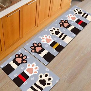 JH Bathroom Kitchen Non -Slip Mat Household Rectangular Water Absorbing Cartoon Carpet Fish And Cat Print Floor Mats