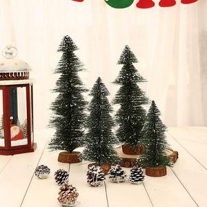 1Pc Small Diy Christmas Tree Mini Sisal Fake Pine Tree Christmas Santa Snow Frost Village House Ornament 2020 NEW