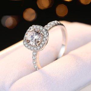 حقيقي 925 فضة الكبير ساحة CZ الماس RING مع الشعار ومربع مجوهرات باندورا صالح الزفاف خاتم الخطوبة للمرأة