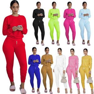 Femmes Survêtement Two Pieces Pants Set Top manches longues Casual T-shirt Crayon Pantalons Tenues Mode Sport Joggers Costume Vêtements S-XXL 2020