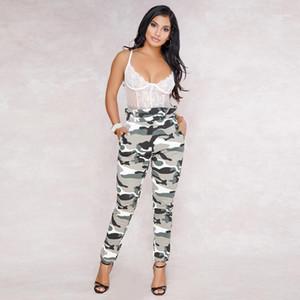 Yaz Günlük Moda Kadın Pantolon Kamuflaj Baskı Tasarımcı Pantolon Kadınlar Yüksek Bel Spor Gevşek Kalem Pantolon Bahar