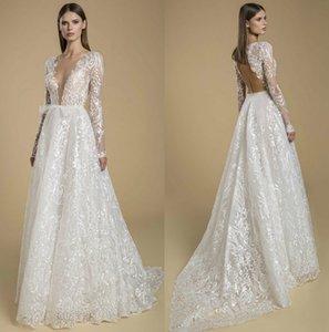 Sexy Backless Wedding Dresses Deep V Neck A Line Lace Appliques Bohemian Bridal Gowns Long Sleeves Garden Vestido De Noiva