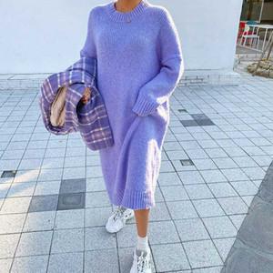 Lady Estilo coreano Casual solta Sweater Dress Inverno Mulheres Moda Tricô vestidos longos Pullovers Aqueça vestido longo Oversize