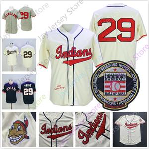 Satchel Paige Jersey 1948 1953 Baseball Hall of Fame Patch gris crème Pull bleu blanc bouton Tous Cousu Domicile Extérieur