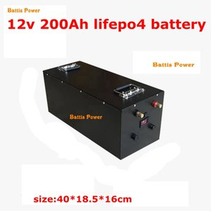 Waterproof Lifepo4 12V 200AH Lithium Battery Capacity 100A BMS 4S for 1200W Inverter EV Fishing Boat Propeller +10A Charger