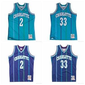Мужчины Ларри Джонсон 2 1992-93 Аутентичный ДжерсишарлоткаШершни Альтернативных 1992-93 1994-95 Моурнинга 33 Джерси