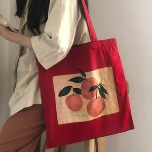 Korean cartoon ins peach print art casual fashion red shoulder bag large capacity Japanese chic canvas Vintage Crossbody bags