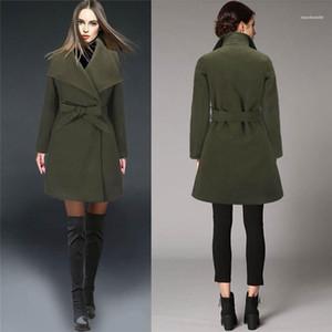 Твердые женщины Цвет Верхняя одежда Повседневная женщина шерсти пальто новые орденские ленты отворотом шеи женщин зимние пальто