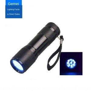 9LED фиолетовый Nail Polish фонарика УФ небольшой фонарик водить УФ отверждения лампы ультрафиолетового лака для ногтей лампа