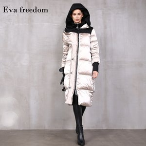 Eva Freedom 2019 Winter loose down coat hooded Knee length women's fashion bright surface material Down Jackets hooded female