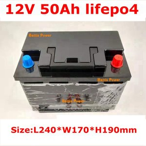 lithium 12V 50AH lifepo4 battery BMS 4S 12.8V Deep cycle 26650 for golf cart RV speaker travel trailer +5A Charger
