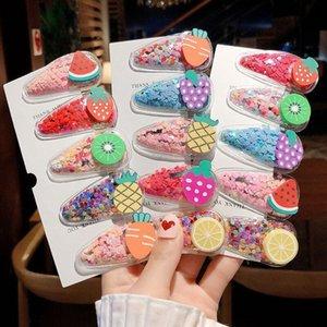 Koreli yeni beş parça renk şeffaf klip çocuk meyve saç tokası PVC yan klip bebek Fruit headdress BB headdress quicksand