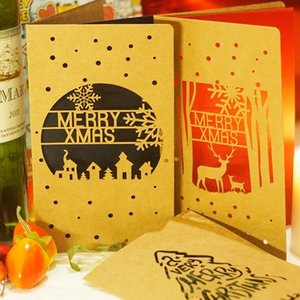 Hollow out Merry Christmas Card,New Year greeting card ,Christmas Gift Folding Cards 10pcs lot