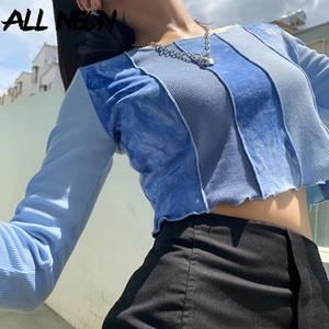 ALLNeon e-kız Sweet Patchwork Batik nervürlü tişört Y2K Moda Dikiş O-boyun Uzun Kollu Ruffles Hem Mavi Mahsul Harajuku T200813 Tops