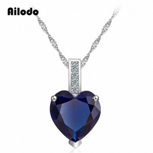 Collar Ailodo colgante de cristal del corazón para las mujeres del color de plata largo Enlace Declaración de cadena de la joyería collar de regalo de la manera LD072 x2Jb #