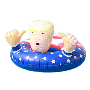 Cartoon Trump Swimming Ring Inflatable Floats Giant Thicken Circle Flag Swim Ring Float for Unisex Summer Pool Play Water Toys D81712