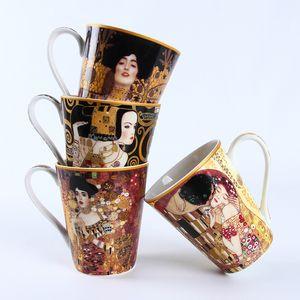 Gustav Klimt Series Oil pintura famosa ESPERA Beije trabalhos de arte Caneca Tumbler Leite Pequeno-almoço Cup Taza Gato xícara Koffie