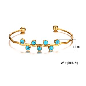 FXM DN7 arrival fashion jewelry for women birthday gift 7 pcs blue stone color 11mm Simple no allergic women open bracelet