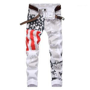 Slim Trousers Mens USA Flag White Jeans Man Plus Size Star With Red Striped Pencil Pants Men Fashion Casual