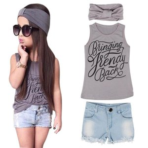 Summer 1Set Kid Baby Girls Vest Top Clothes + Jeans Pants Shorts+Scarf Suit Outfit Casual Fashionable NEW August 9