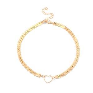 Legierungs-Herz-Mode-Fisch-Skala-Halskette für Frauen Schmuck Collares Freund Kette Zubehör Ästhetik Suspension XL10154