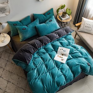 2020 Nouvelle magie velours 4pcs ensemble de literie polaire / set couverture feuille de plat couette bande taie AB côté flanelle chaud linge de lit d'hiver