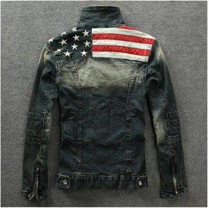 Commercio all'ingrosso 2016 Denim Giacche Outerwear bandiera americana maschile fa il vecchio Motociclo blu jeans del rivestimento del cappotto dell'uomo di moda Jeans Slim Denim con cappuccio UxCc #
