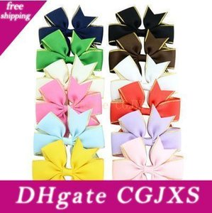 12pcs Solid Grosgrain Ribbon Bow With Gold Verge Hair Clip For Girls Handemade Hair Accessories Hd783