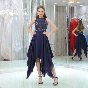 Синие асимметричные выпускные платья Шифон без рукавов Scoop шеи бисером кристалл формальные платья партии на заказ коктейльные платья Plu HomeComing