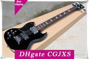 Handed Noir 4 gauche Cordes Guitare basse électrique avec noir Pickguards, offre sur mesure