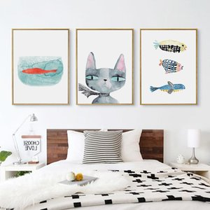 American Style Art Poster Animal Cat And Fish Canvas Painting Picture Home Wall Art Decoration Wall Sticker Can Be Customized