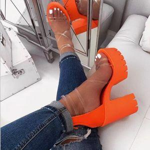 Kadınlar Şeffaf Sandalet Bayanlar Yüksek topuk Sandalet Şeker Renk Açık Ayak parmakları Kalın Topuk Moda Kadın Slaytlar Platformu Yaz Ayakkabı