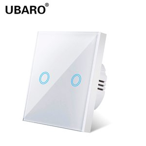 UBARO Touch Light Switch EU UK Standard White Crystal Glass Sensitive Switches Wall Led Interruptor Ac100-240v 1 2 3Gang