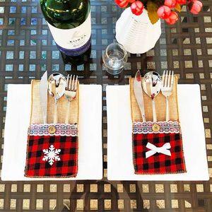 Couteau de Noël 4 et le style sac fourchette Jute dentelle Porte-ustensiles Sacs beaucoup offrent couleur choisir