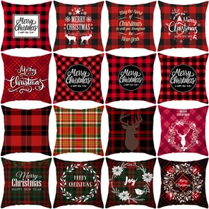 Red plaid deer head pillowcase Bedroom Cushion Cover Home Festival Decoration living room home decoration christmas Without pillow