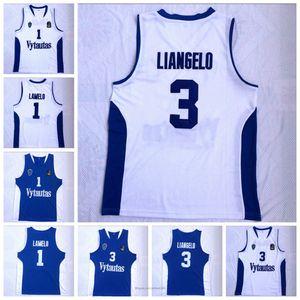 Hommes Lamelo Ball # 1 Liangelo Ball # 3 Lituanie Vytautas Jersey Basketball Bon marché Blue Blanc Chemises cousues de broderie Taille X-2XL