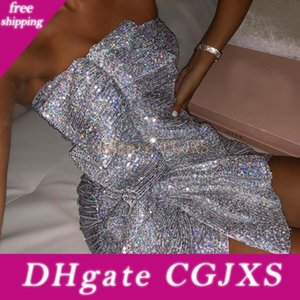 Argento Sequin Prom Dresses Women 2020 Summer Dress Club sexy senza bretelle di usura mini breve Dresses Party Night Gowns