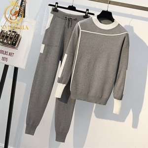 HMA 2020 Autumn Runway 2 Pieces Set Knitted Long Sleeve Pullovers Sweater Casual Patchwork Knit Jumper Tops and Pants Suits T200817