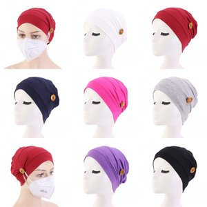 Lockere Knopf Beanie Cap-Kopf-Verpackungs Elastic Fashion Turban Pferdeschwanz ausgestattet Bonnet Sonnenhut Durag Damen Girl 6 2ba C2
