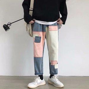 tekst Z8e50 couleur contraste Online Patch automne célébrité et d'hiver des hommes de l'INS lâche jeans et pantalons droites plaquées jeans occasionnels longueur de la cheville
