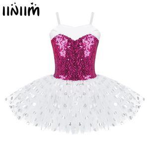 iiniim Kids Girl Ballet Dress Sequins Spaghetti Shoulder Straps Ballerina Dance Costume Gymnastics Leotard Mesh Tulle Tutu Dress