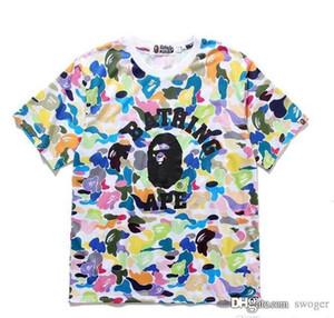 Nouveau style de couleur Camo Cartoon hommes T-shirts imprimés des hommes Casual rondes en vrac cou à manches courtes T-shirts