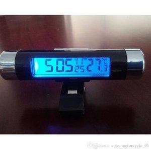 عالية الجودة كليب على السيارة مع شاشة LCD ميزان الحرارة الرقمي الضوء الأزرق الخلفية شهر تاريخ الالكترونية ميزان الحرارة على مدار الساعة