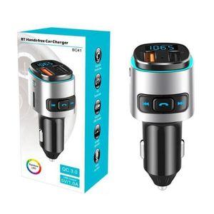 BC41 Car MP3 player Bluetooth FM transmissor receptor sem fio Music Player QC3.0 USB carregador de carro cartão Apoio TF