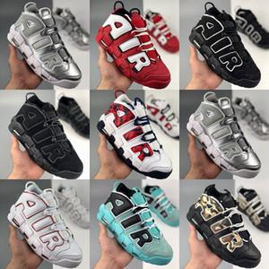 kutu WMNS Daha Uptempo Işık Kemik QS Erkek Basketbol Ayakkabı 3M Chicago Scottie Pippen Eğitmenler Spor Spor ayakkabılar sepetleri des chaussures ile