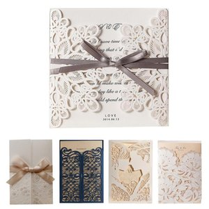 Hollow Invitation Wedding Card Customized White Ribbon With Outer Card + Inner Customized Sheet Greeting Wedding Decoration