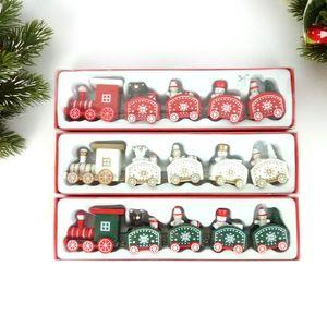 Decorações de Natal decoração da janela presente do dia de Natal de trem de madeira crianças do jardim de infância vermelho cor verde branco com o navio livre
