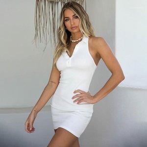 Pulsante Halter Dress Polo V Neck Bodycon vestiti scarni estate delle donne Abiti Backless sexy